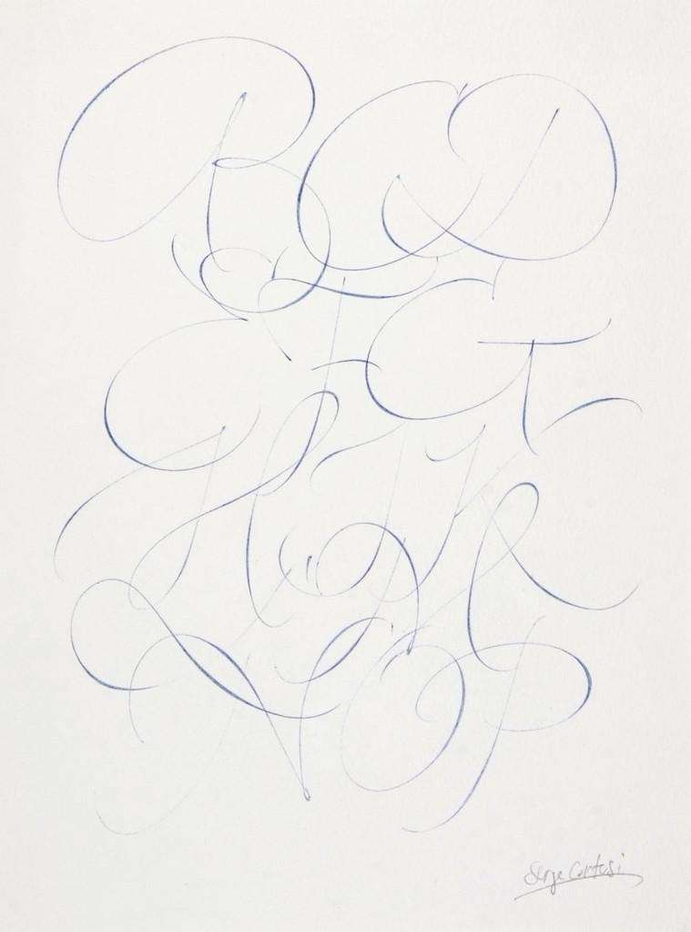 Calligraphie réalisée à l'aide d'un stylo bille - © Serge Cortesi