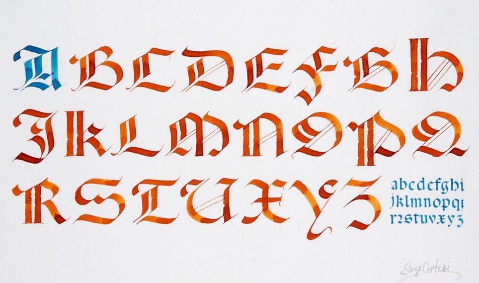 Calligraphie en Gothique Rotunda © Serge Cortesi