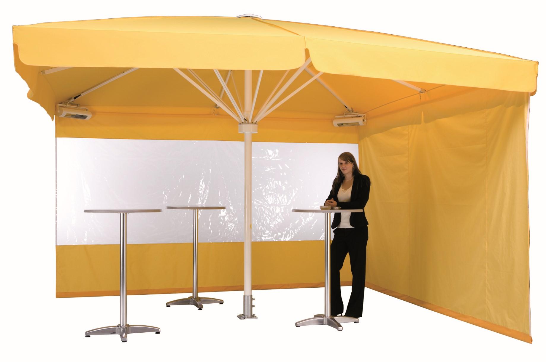 Seitenbehänge und Regenrinnen für den ganzjährigen Sonnenschirm-Einsatz