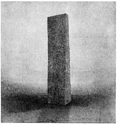 Nick Teplov, Menhir IV, Grafikbogen aus der Mappe »in der mitte aller dinge«, Radierung, 25 x 24 cm, 2013