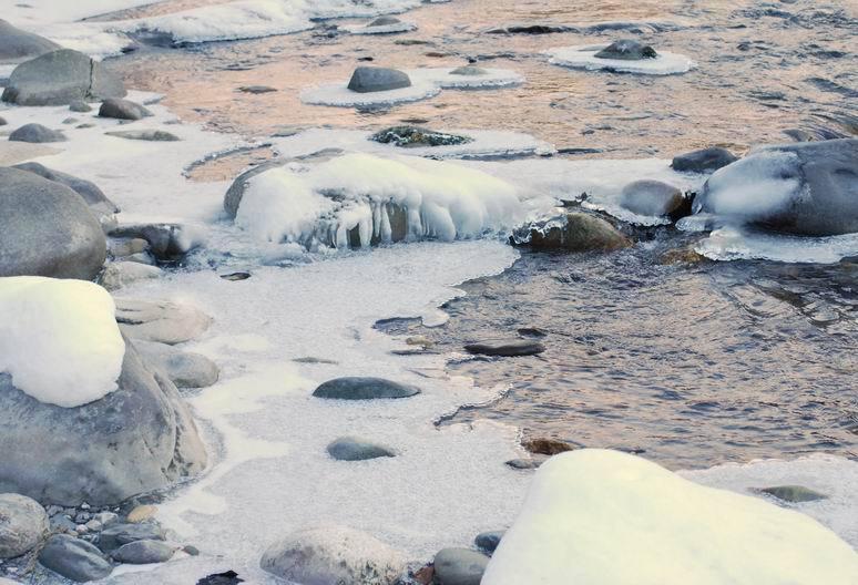 Le Fier entre neige et glace (rivière à 500m du gîte)