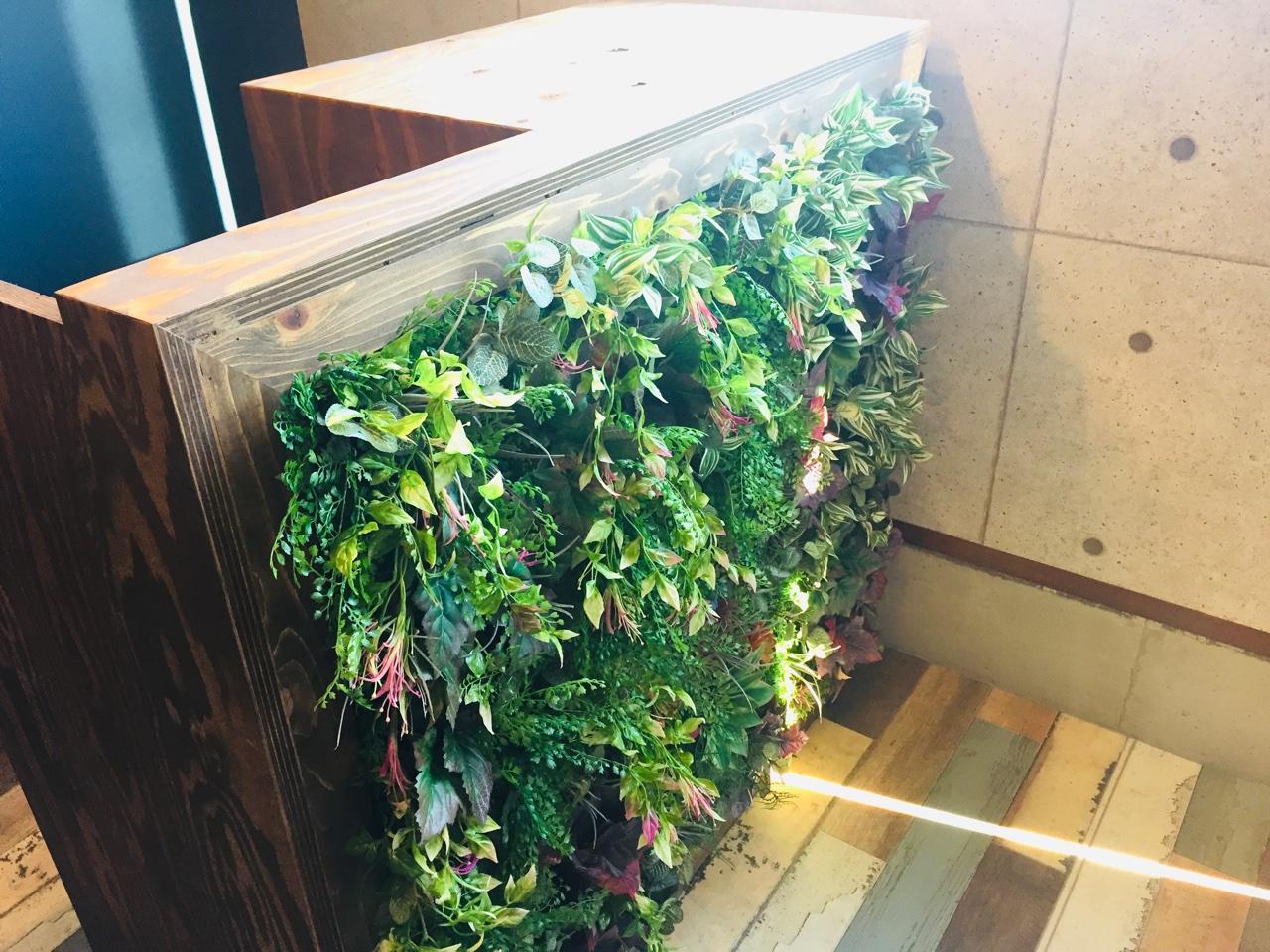 ショップカウンターを壁面緑化でボタニカルな装い