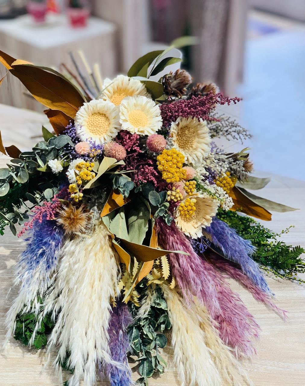 ⑤プリザ×ドライフラワーの花束