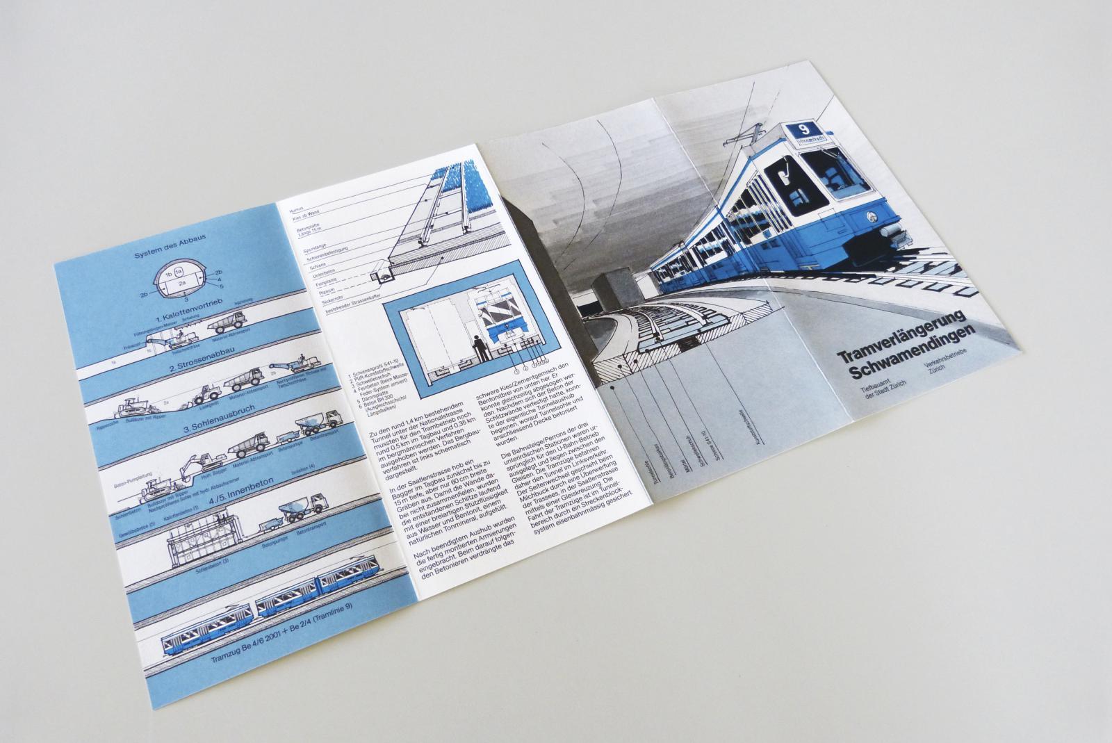 Verkshrsbetriebe Zürich: Prospekt für die unterirdische Tramverlängerung nach Schwamendingen