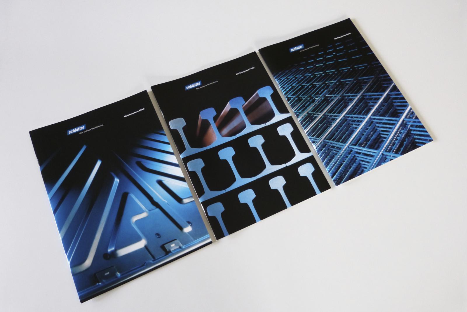 Drei Geschäftseinheit-Broschüren Blech, Profil, Draht