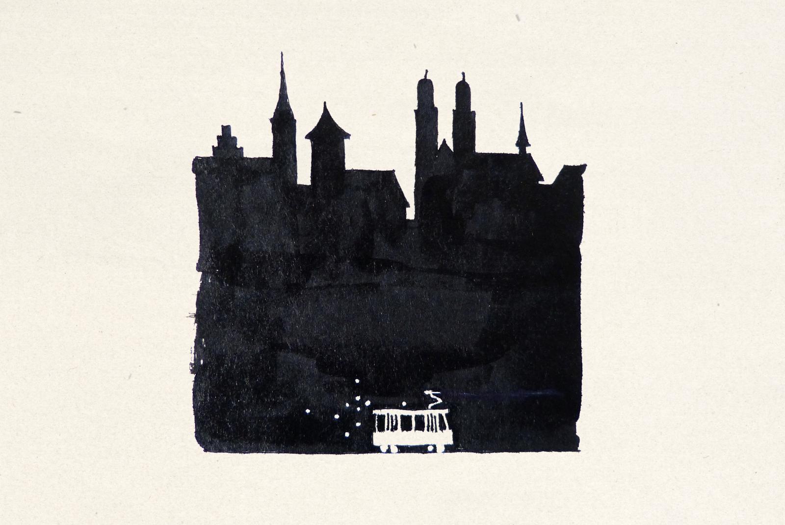 Verkehrsbetriebe Zürich: Illustration für Tramplakat «Nachtlinie»