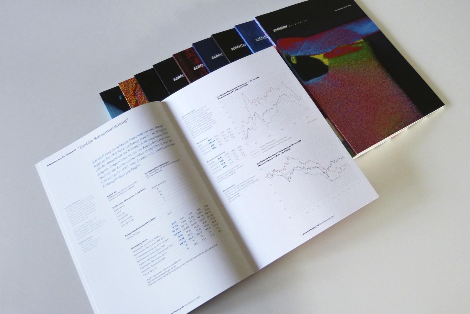 Innenseite mit tabellarischer Typografie und Charts