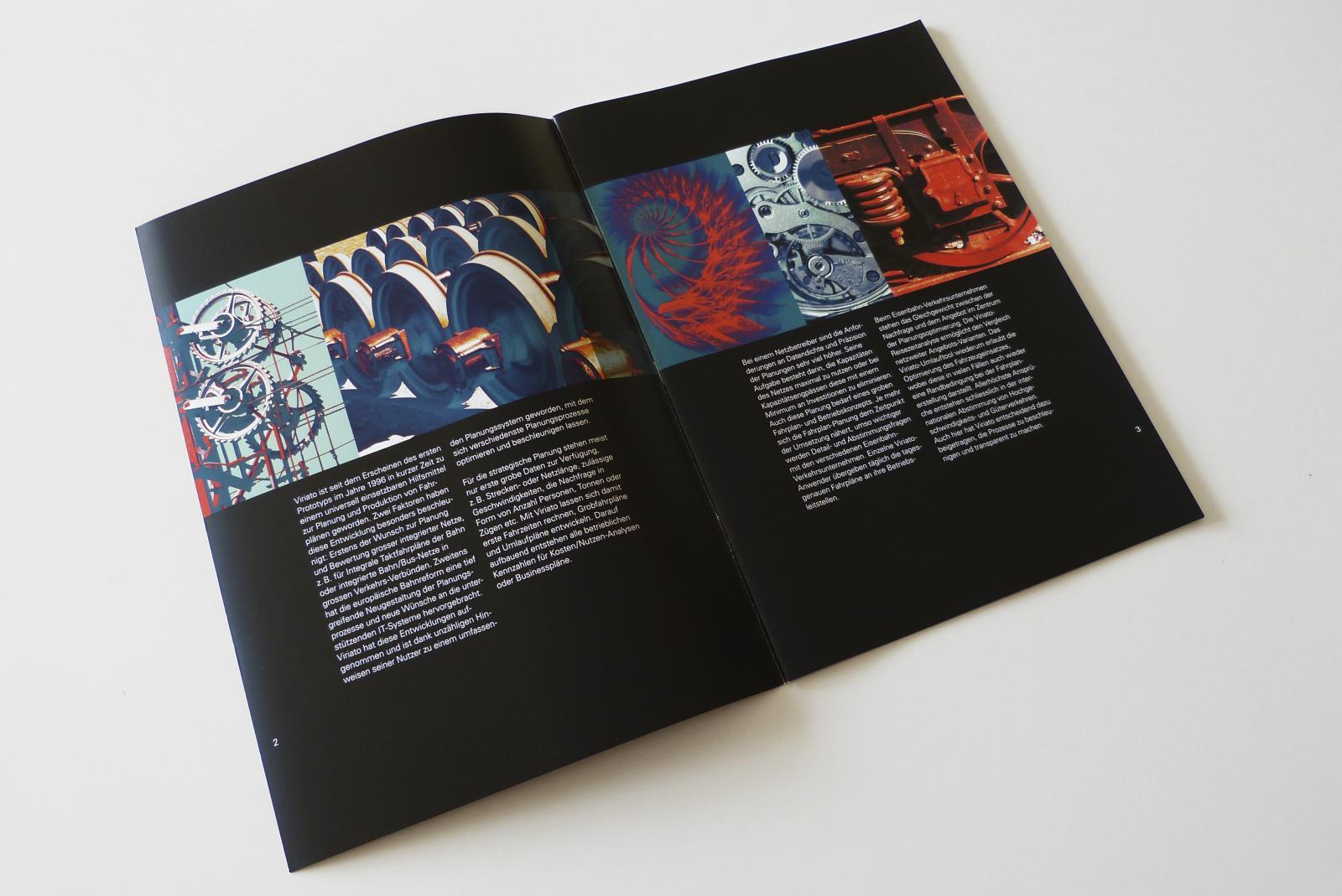 Einführungsseiten auf schwarzem Grund, mit farbverfremdeten Bildern