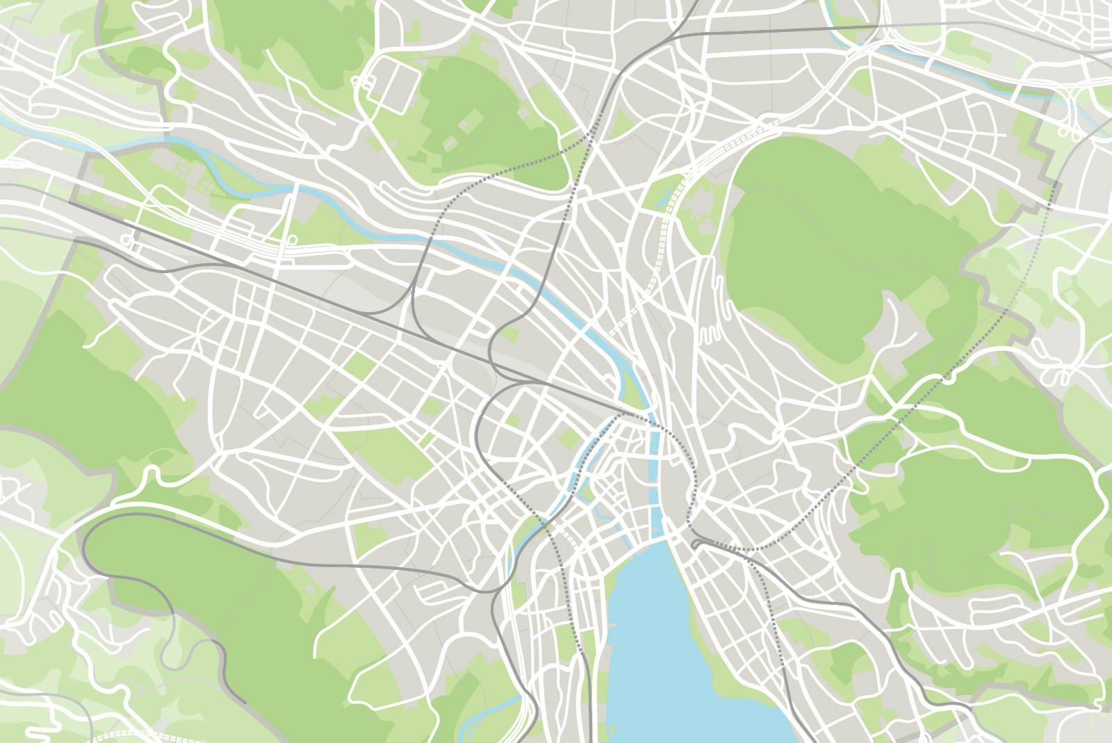 Plan mit Haupt- und Nebenstrassen