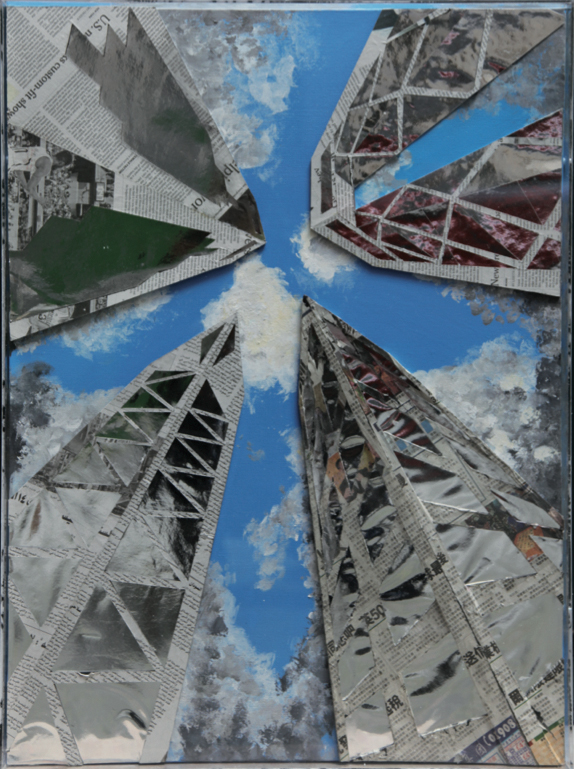 Twins towers in New York - 55x74cm - Montage on Canvas in plexiglass box