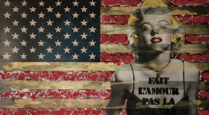 "Marylins Monroe Battle ""Fait l'amour pas la gueule"" - 120x90cm - Print on aluminium and resine mixed with acrylic colors"