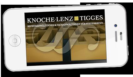Grafik: Mobilwebsite der STEUER- UND RECHTSANWALTSSOZIETÄT KNOCHE-LENZ & TIGGES - Fachanwalt & Steuerberater | Steuerberatung in Hamburg