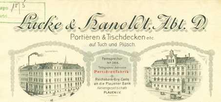 Briefkopf der Fa. Lucke & Hanold, 1910