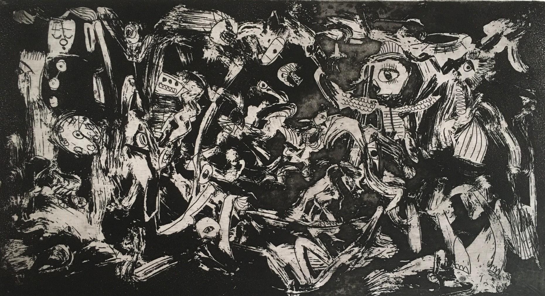 (c) Bianca Scheich, Radierung, 50 x 60 cm, Die Schwarzseher, 2021