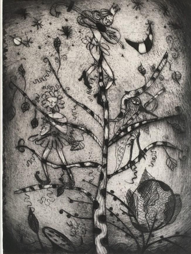 (c) Bianca Scheich, Radierung, 30 x 40 cm,  Himmel und Erde,  2020