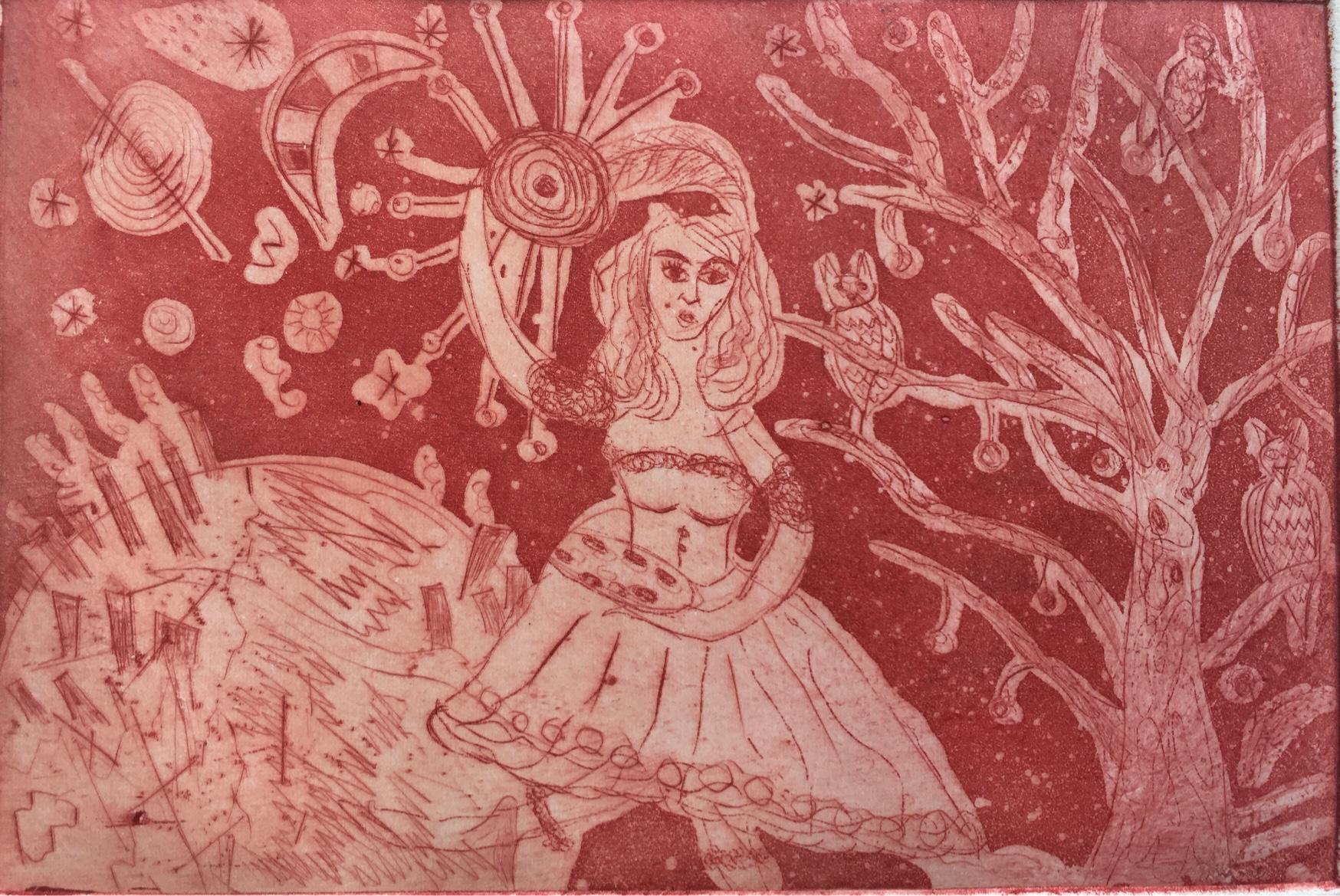 (c) Bianca Scheich, Radierung, Die rote Corona, 15 x 20 cm, 2021