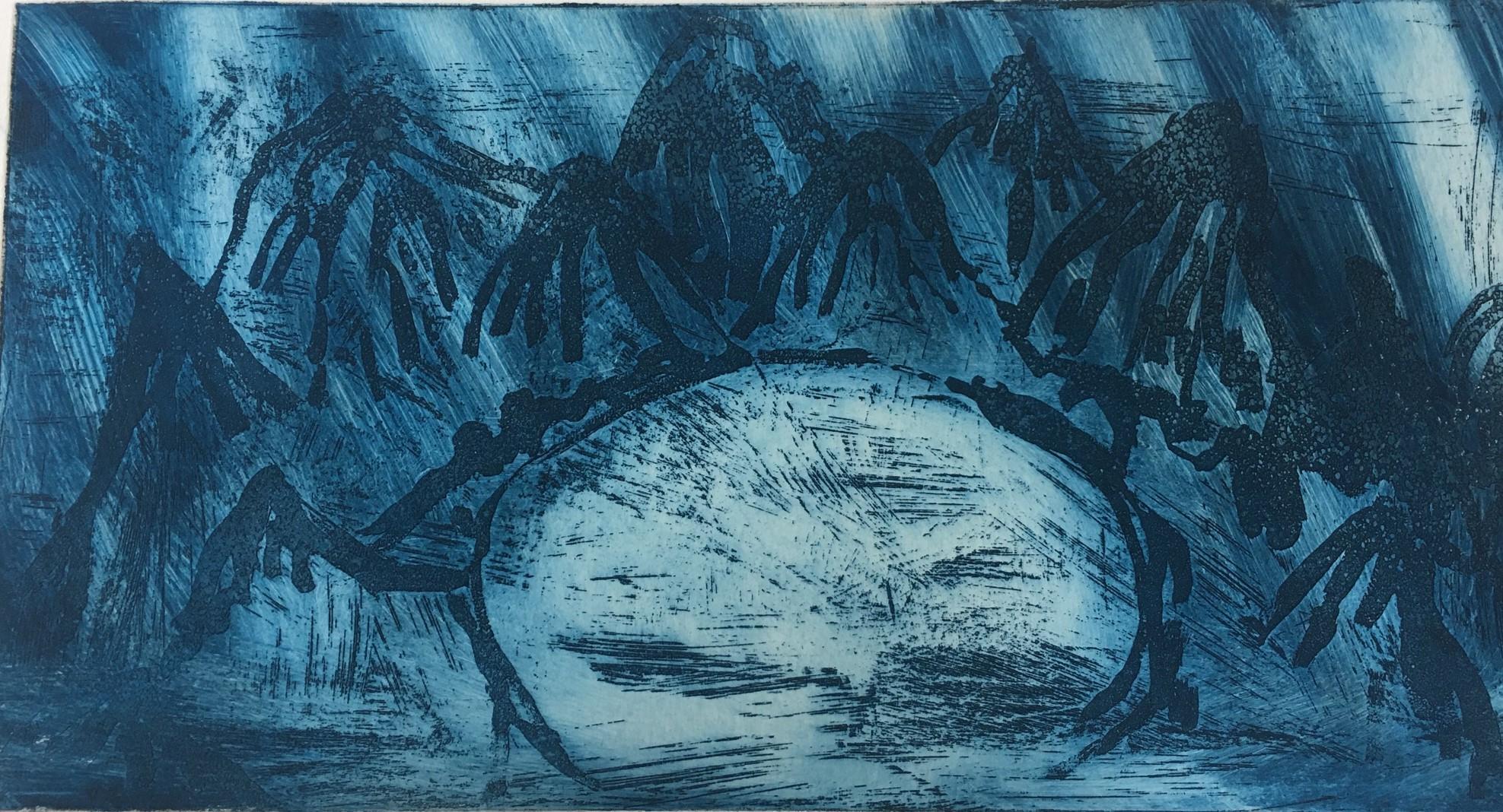 (c) Bianca Scheich, Radierung, Blaue Berge, 2020