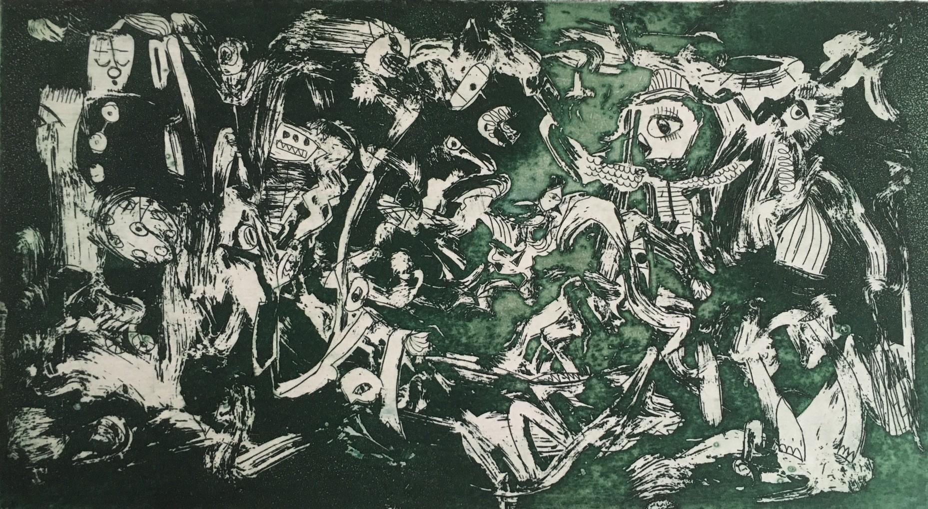 (c) Bianca Scheich, Radierung, Die Grünen, 50 x 60 cm, 2020