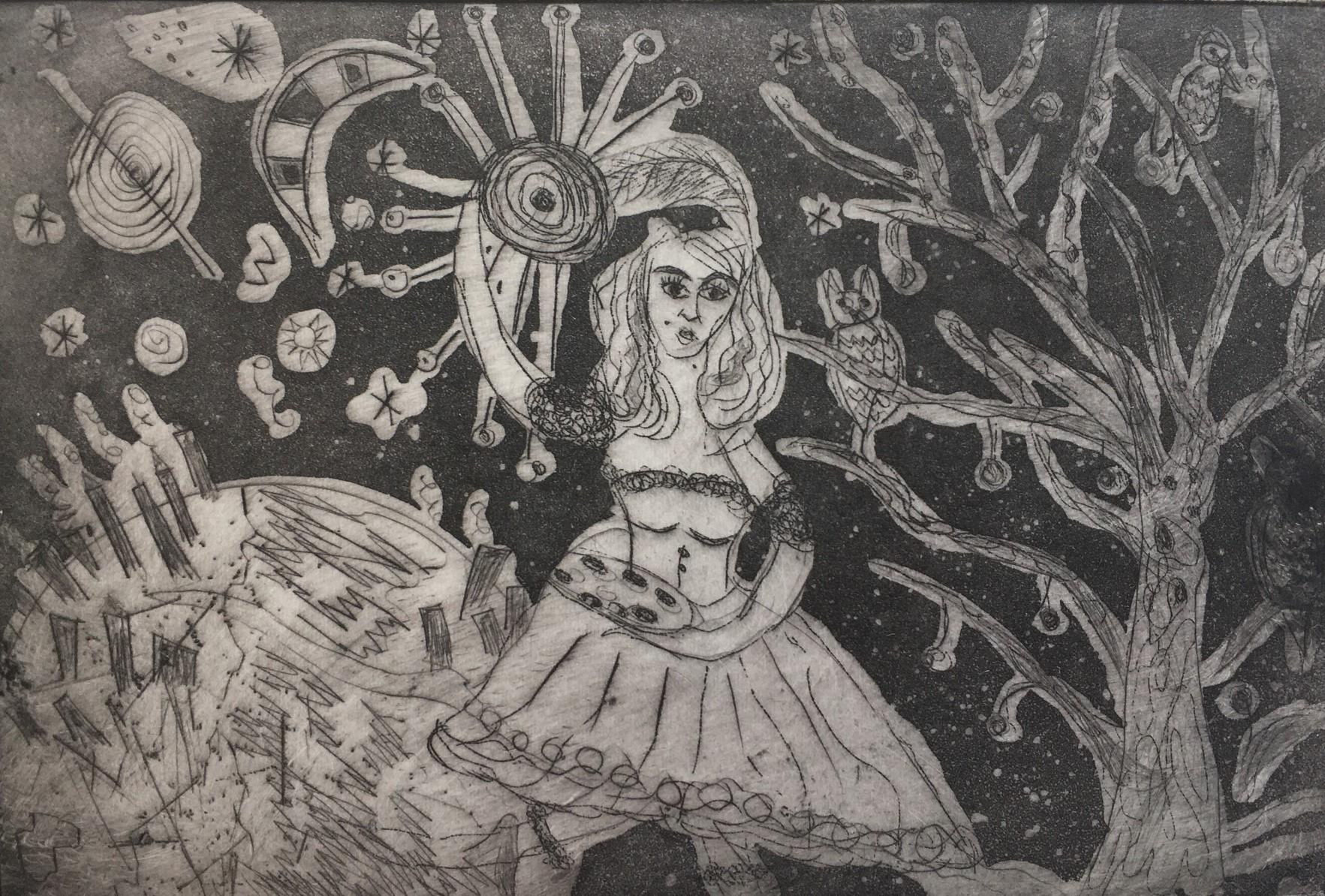 (c) Bianca Scheich, Radierung , 30 x 40 cm, Tinka im Orbit, 2021