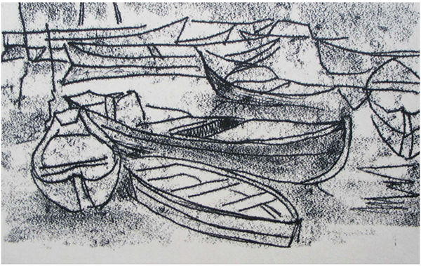 14. Лодки, б.монотипия 21х29, 1975