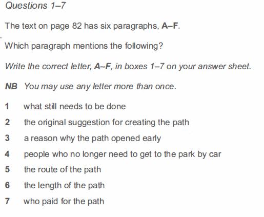 IELTS ジェネラル リーディング 設問別対策1