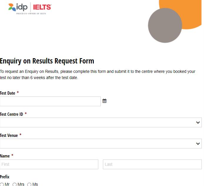 IELTS再採点の申請書