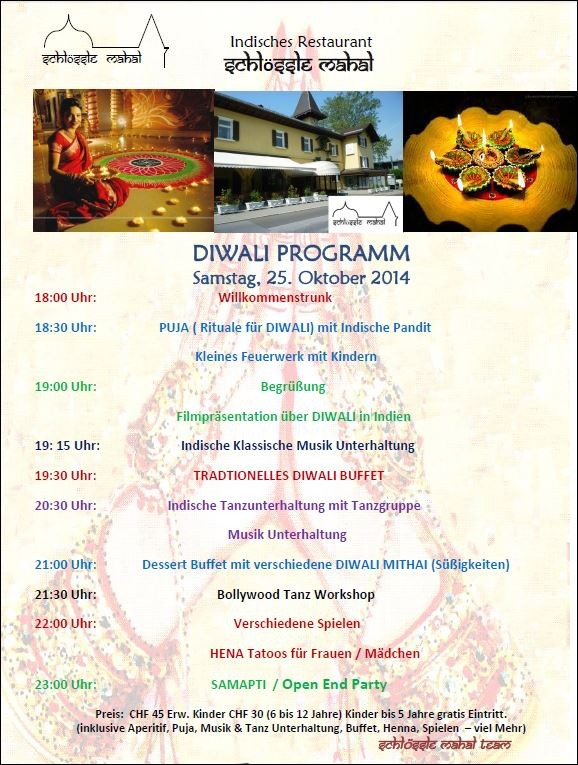 DIWALI - Buffet & Unterhaltung - Samstag, 25. Oktober 2014 ab 18 Uhr