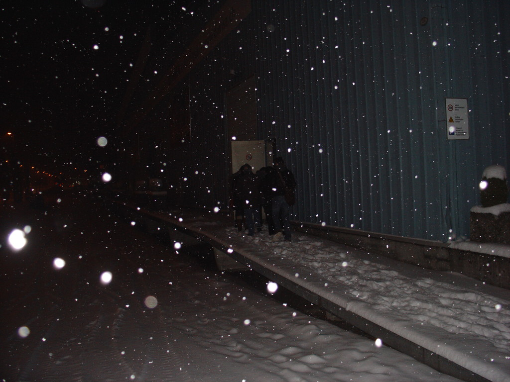im Schneegestöber zur Früchteannahme