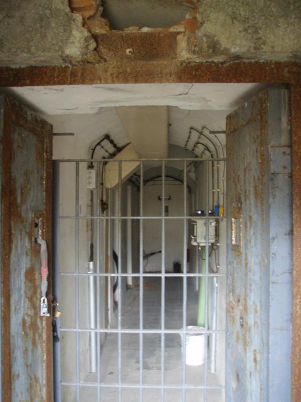 Eingang Süd von Außen mit Stahltor und Gittertür