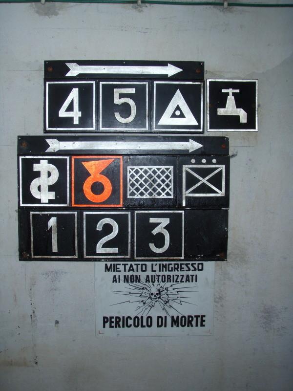 Orientierungshilfe (1, 2, 3, 4, 5 = Kampfstände; Aussichtspunkt; Trinkwasserreserve; medizinische Versorgung; Munitionsdepot auch für Artellerie; Schlafsaal; Kommando)