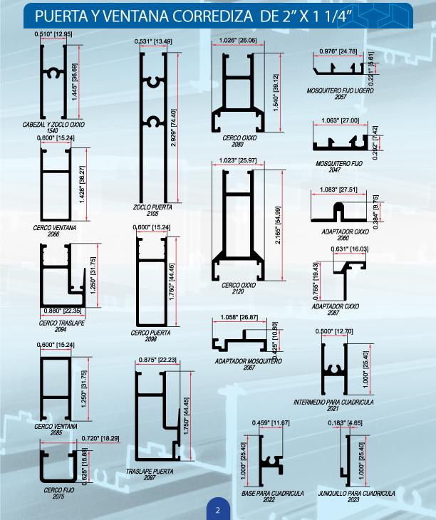 Cat logo aluminio alumer s a de c v perfiles ventanas for Perfiles de aluminio catalogo
