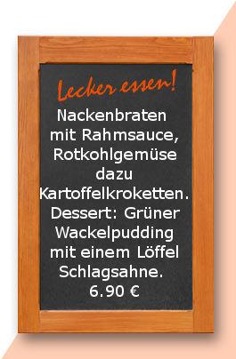 Mittagstisch am Freitag den 04.09.2017: Nackenbraten mit Rahmsauce, Rotkohlgemüse dazu Kartoffelkroketten. Dessert: Grüner Wackelpudding mit einen Löffel Schlagsahne.