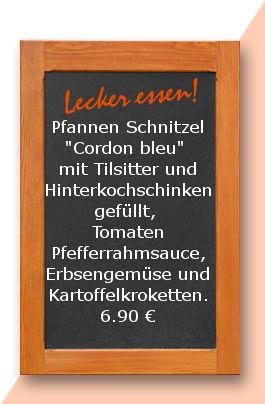 """Mittagstisch am mittwoch den 15.11.2017: Pfannen Schnitzel """"Cordon bleu"""" mit Tilsitter und Hinterkochschinken gefüllt, Tomaten Pfefferrahmsauce, Erbsengemüse und Kartoffelkroketten."""
