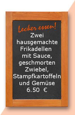 Mittagstisch am Freitag den 18.08.20017: Zwei hausgemachte Frikadellen mit Sauce, geschmorten Zwiebel, Stampfkartoffeln und Gemüse