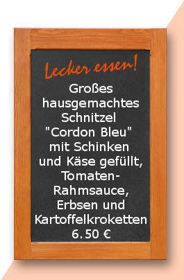 """Mittagstisch am Mittwoch den 10.05.2017: Großes hausgemachtes Schnitzel """"Cordon Bleu"""" mit Schinken und Käse gefüllt, Tomatenrahmsauce, Erbsen und Kartoffelkroketten"""