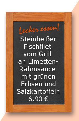 Mittagstisch am Freitag den 03.11.2017: Steinbeißer Fischfilet vom Grill an Limettenrahmsauce mit grünen Erbsen und Salzkartoffeln