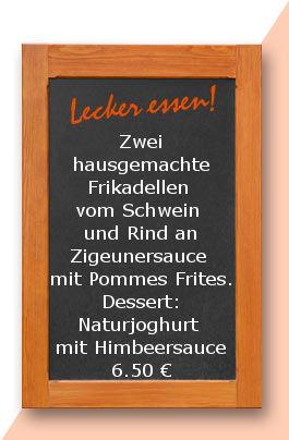 Mittagstisch am Montag den 12.06.2017: Zwei hausgemachte Frikadellen vom Schwein und Rind an Zigeunersauce mit Pommes Frites. Dessert: Naturjoghurt mit Himbeersauce