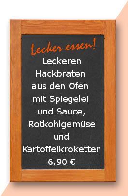 Mittagstisch am Mittwoch den 13.12.2017: Leckeren Hackbraten aus den Ofen mit Spiegelei und Sauce, Rotkohlgemüse und Kartoffelkroketten.