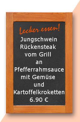 Mittagstisch am Freitag den 27.10.2017: Jungschweinrückensteak vom Grill an Pfefferrahmsauce mit Gemüse und Kartoffelkroketten