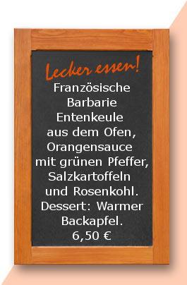 Französische Barbarie Entenkeule aus dem Ofen, Orangensauce mit grünen Pfeffer, Salzkartoffeln und Rosenkohl. Dessert: Warmer Backapfel.