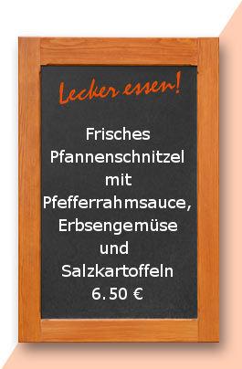 Mittagstisch am Dienstag den 27.06.2017: Frisches Pfannenschnitzel mit Pfefferrahmsauce, Erbsengemüse und Salzkartoffeln