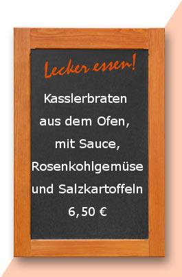 Mittagstisch: Kasslerbraten aus dem Ofen, mit Sauce, Rosenkohlgemüse und Salzkartoffeln