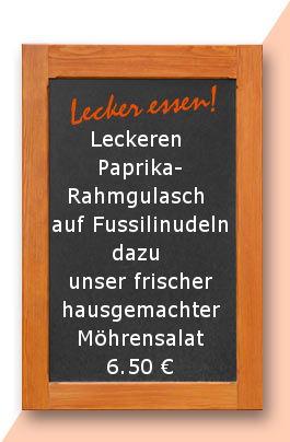 Mittagstisch am Montag den 08.05.2017: Leckeren Paprika-Rahmgulasch auf Fussilinudeln dazu unser frischer hausgemachter Möhrensalat