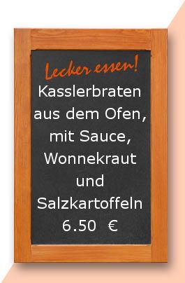Mittagstisch am Donnerstag den 08.06.2017: Kasslerbraten aus dem Ofen, mit Sauce, Wonnekraut und Salzkartoffeln