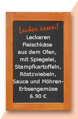 Mittagstsich am Mittwoch den 03.01.2018: Leckeren Fleischkäse aus dem Ofen, mit Spiegelei, Stampfkartoffeln, Röstzwiebeln, Sauce und Möhren-Erbsengemüse 6,90 €