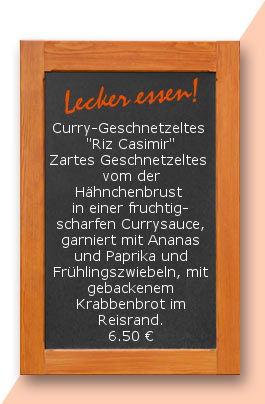 """Mittagtisch am Dienstag den 13.06.20017: Curry-Geschnetzeltes  """"Riz Casimir"""" Zartes Geschnetzeltes  vom der Hähnchenbrust in einer fruchtig-scharfen Currysauce, garniert mit Ananas und Paprika und Frühlingszwiebeln, garniert mit gebackenem Krabbenbrot im"""