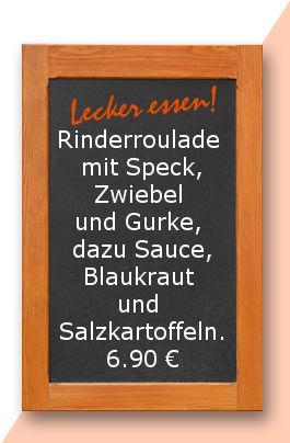 Mittagstisch am Montrag den 23.10.2017: Rinderroulade mit Speck, Zwiebel und Gurke, dazu Sauce, Blaukraut und Salzkartoffeln.