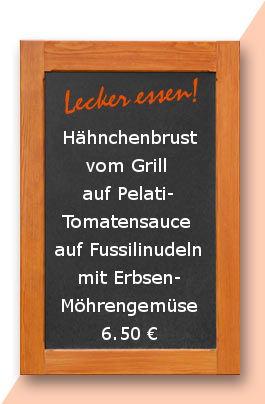 Mittagstsich am Dienstag den 04.07.2017:Hähnchenbrust vom Grill auf Pelati-Tomatensauce auf Fussilinudeln mit Erbsen-Möhrengemüse
