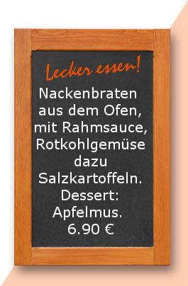 Mittagstisch am Mittwoch den 11.10.2017: Nackenbraten aus dem Ofen, mit Rahmsauce, Rotkohlgemüse dazu Salzkartoffeln. Dessert: Apfelmus.