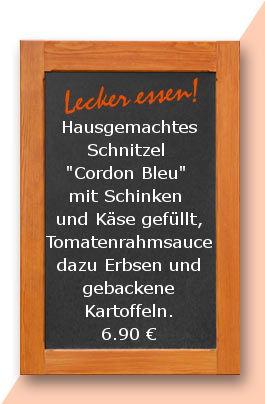 """Mittagstisch am Mittwoch den 07.03.2018: Hausgemachtes Schnitzel """"Cordon Bleu"""" mit Schinken und Käse gefüllt, Tomatenrahmsauce dazu Erbsen und gebackene Kartoffeln. 6,90 €"""